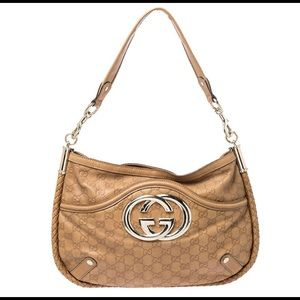 Gucci Guccissima leather tan Britt shoulder bag